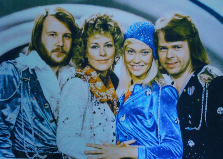 A picture of ABBA from the 1974 Eurovision, from the left Benny Andersson, Anni-frid Lyngstad, Agnetha Faltskog and Björn Ulvaeus.