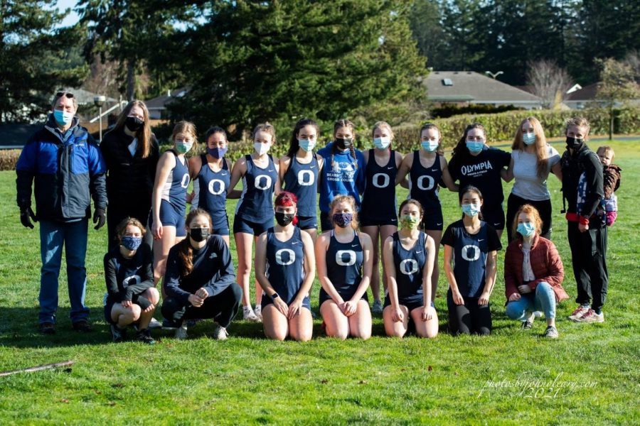 Girls cross country team before their first race of the season.