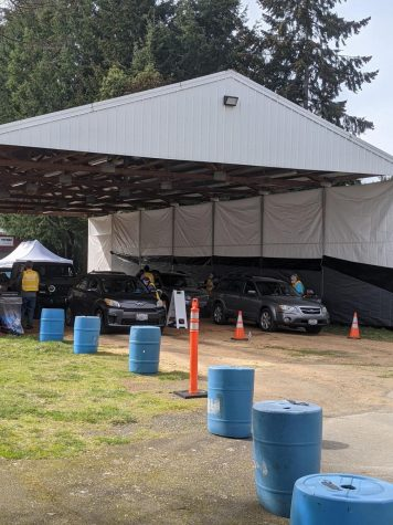 Vaccine clinic tent set up by local volunteers at the Lacey fairgrounds.