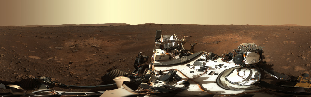 A panorama taken by MASTCAM-Z, the main science camera.